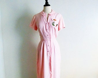 1/2 Off SALE Vintage 50s Pink Dress, Lorch of Dallas 1950 Short Sleeve Sheath