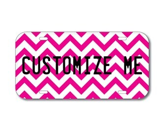 Plastic License Plate Chevron Pink Car Tag Custom Personalized Vehicle Business Logo Monogram Engagement Announcement Wedding