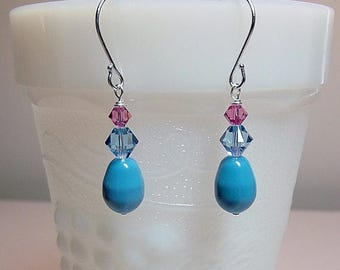 40% OFF SALE thru Tues Swarovski Turquoise Blue Rose Pearl Crystal Drop Earrings, Christmas Mother Wedding Bridesmaid Mom Birthday Sister Gi