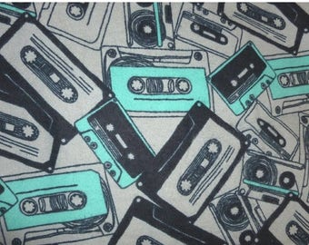 ON SALE 50% OFF Cassette  Flannel Cotton Fabric by the 20 Inches