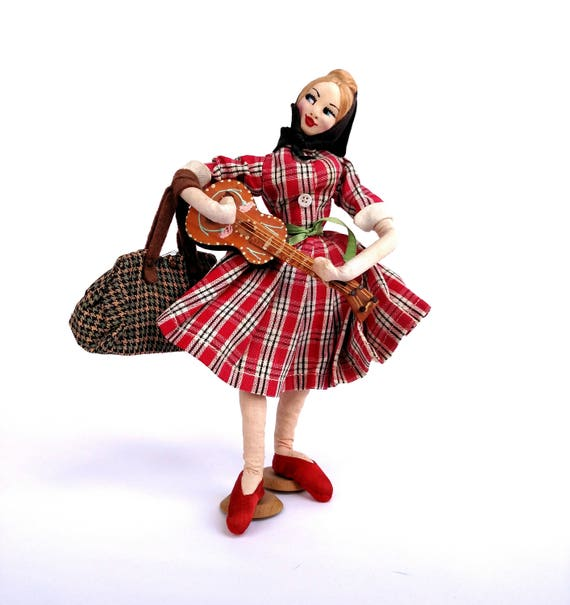 Vintage 1950's Doll of Traveling Girl Playing Guitar