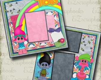 Trolls - 2 Premade Scrapbook Pages - EZ Layout 2124