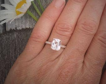 3.51ct Non Heated Cushion Pink Champagne Sapphire Rose Gold Engagement Ring