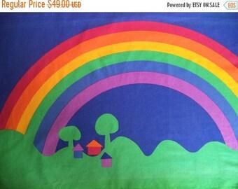 ON SALE Sateensaari Made in Finland by Tampella fabric panel/ vintage rainbow fabric panel/ rainbow houses trees 70's fabric decor