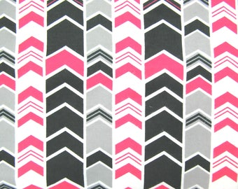 Clearance Flannel Fabric in a Black, White, Pink and Grey Chevron Arrow Print 1 Yard