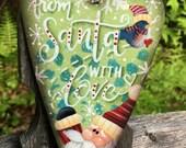 Santa ornament, Santa Claus ornament, Christmas ornament, wooden heart, Christmas decor, Santa decor, hand painted ornament,Christmas tree,