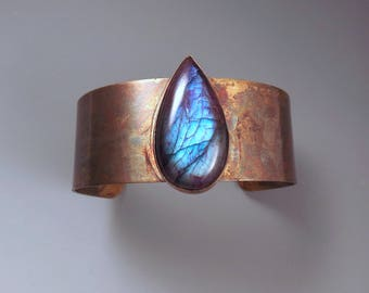 Purple Labradorite- Blue Violet- Colorful Patina- Metal Gemstone Cuff Bracelet