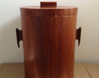 Teak Veneer Ice Bucket. Vintage 1960.   Eames Panton era. Mid century Modern.   Made in Japan