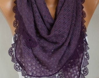 Valentine's day gift,Pale Purple Knitted Scarf, Shawl Cowl Lace Bridesmaid Bridal Accessories Gift Ideas For Her Women Fashion Accessories
