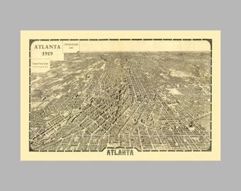 Atlanta Georgia - Panoramic Map - Birds Eye View - Print -Poster