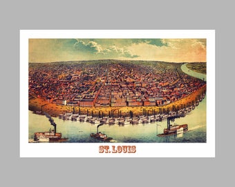 St Louis Panoramic Map - Birds Eye View - Map - Print - Poster