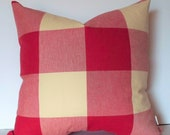 Red Tan Buffalo Check Pillow Cover, Large Red Gingham Pillow Large Red Check P Kaufmann Pillow 0