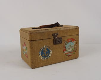 Vintage tweed train case with travel stickers / Vintage cosmetic case /Small suitcase luggage /