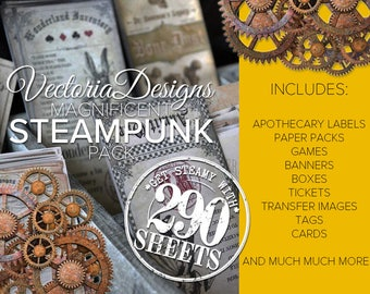 Steampunk Crafting Pack Printable Paper Crafting Digital Printable Collage Sheet Paper Crafting - VDMPST1662