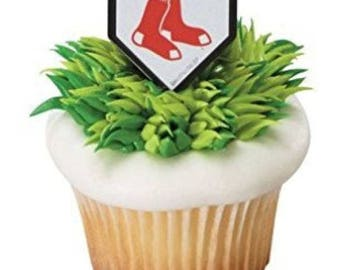 12 Boston Red Sox Cupcake Cake Rings Birthday Party Favors Toppers