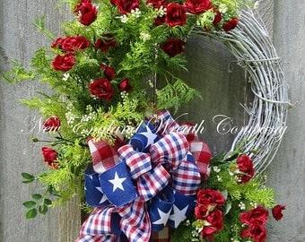 ON SALE Patriotic Wreath, Summer Cottage Wreath, 4th of July Wreath, Summer Floral Wreath, Americana Garden Wreath, Patriotic Designer Wreat