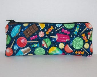 """Pipe Pouch, Cute Sweets Munchies, Pipe Case, Pipe Bag, Glass Pipes, Padded Pipe Pouch, Zipper Bag, Vape Pens, Smoke Accessory - 7.5"""" LARGE"""