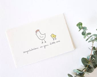 Baby Congratulations - Cute Hen and Chick Card - Little One