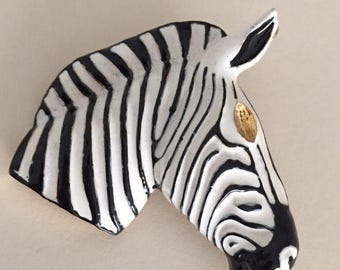 """Great Sale ZEBRA BROOCH and PENDANT in one...1 3/4"""" x 1 1/2"""" - Black, White, Amber"""