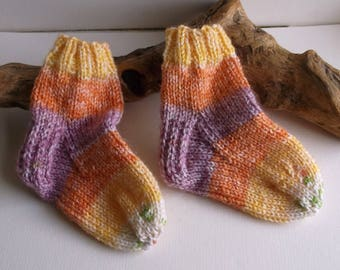 Multicoloured  hand knitted self patterning baby girls socks. 9 to 18 months. UK 3  EU 19  US 3.5