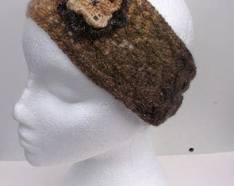 Sparkly handknitted adult womens hairband, headband, earwarmers. Small to medium. Brown shades