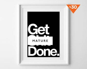 Get Done Poster, Motivational poster, wall art prints, quote posters, minimalist, black and white prints, wall decor