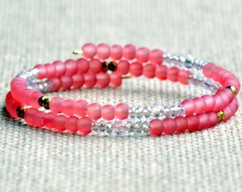 Rose Frost & Sparkle Dainty Wrap Bracelet