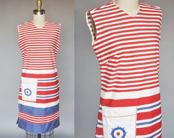 SALE vintage 60s nautical print dress | red white and blue dress | sleeveless patriotic cotton shift dress