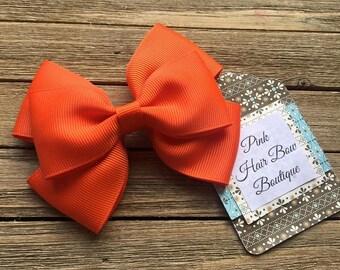 Orange hair bow , 4 inch hair bow , orange  boutique hair bow , toddler hair bow , hair bows for girls