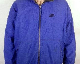 vtg 90s NIke reversible blue/black Puffy Winter Coat Bomber Jacket swoosh L