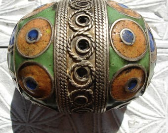 Enamel Moroccan medium tarnished  focal bead  with green ends