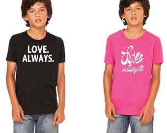 Kids T Shirt - Gender Neutral T Shirt - Berry Fuschia Tee - Love Graphic Kids T-Shirt - Love Always for Charity - Kids Pink T-Shirt - Cotton