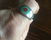 Vintage turquoise look ring, very old and a big heavy ring, men's rings, Indian jewelry