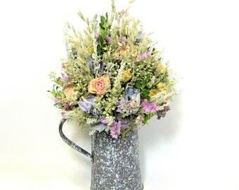 Rustic Floral Arrangement, Primitive Dried Flower Arrangement, Kitchen Decor, Graniteware