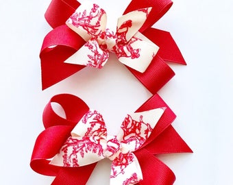 Tycam Handmade Red Toile Hairbow (set of two)