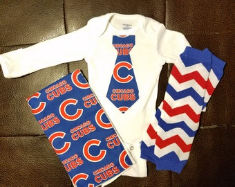 Chicago cubs baby etsy boutique chicago cubs baby gift set negle Choice Image