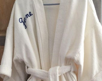 Calling All Janes - Vintage Thick White Terry Robe - Personalized & Made for Bloomingdale's