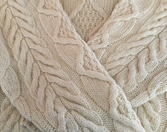 Ivory Wool Cabled Fisherman Sweater. Size Large. Made In England.
