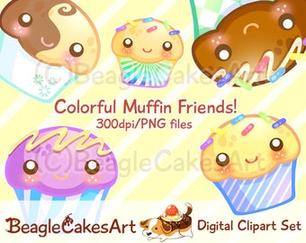 Muffins Clipart. Cupcake Clipart. Instant Download. Colorful Cupcakes. Digital Cupcake. Cupcakes Download. Printable Sticker. Kawaii Clipart
