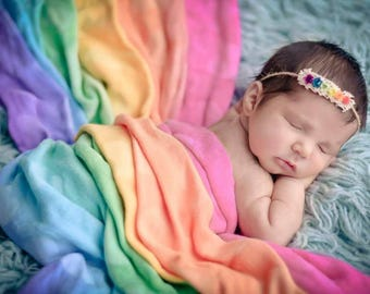 SALE- Rainbow baby, Newborn Headband, Tieback headband, Newborn photo prop, Newborn halo, Baby headband, baby photo prop