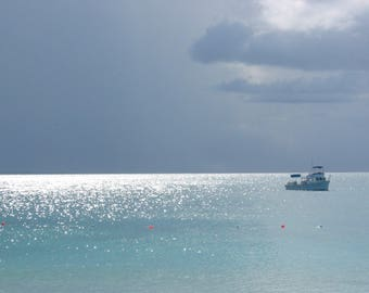 Caribbean Seascape Note Card | Fine Art Photography Greeting Card | Beach theme card | Dramatic Sky