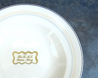 "RARE RMS Queen Mary Dinnerware Bowl, Cunard Steam Ship, Maddock Ivory Ware England, 9"" Gold Writing, Yellow Gray Stripes"