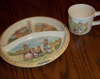 PecoWare Beatrix Potter plate cup set Peter Rabbit Classic nursery fairy tale baby/toddler dinnerware melmac