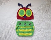 Crochet Summertime Bug Hat and Diaper Cover Set - Photo Prop - Available in 0 to 24 Months