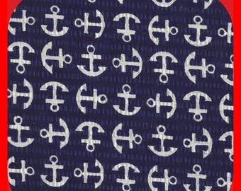 Cotton Fabric SEERSUCKER Navy White Anchors, Beach Clothes, Quilts, Navy FAT Quarter
