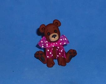 Polymer Clay Brown Bear with Big Polka Dot Bow