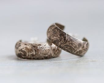 Sterling Silver Hoop Earrings - Art Nouveau - 18 mm
