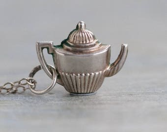 Victorian Teapot Necklace - Sterling Silver Miniature Tea Pot Pendant and Chain - Vintage Oxidized Jewelry