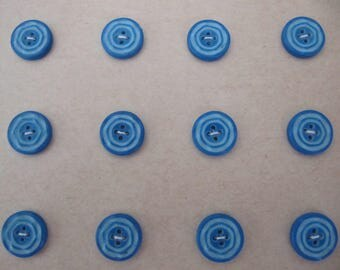 Art Deco 1930's buttons, 24 small vintage casein button, quality galalith plastic buttons made in Germany, 11mm blue on blue buttons unused