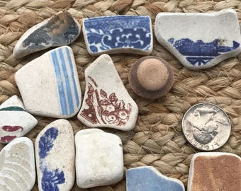 Beach Pottery from Scotland, Picture Pottery Jewelr Making, Various Patterned Blue & White for Pendants, Charms, Earrings, Craft or Mosaics
